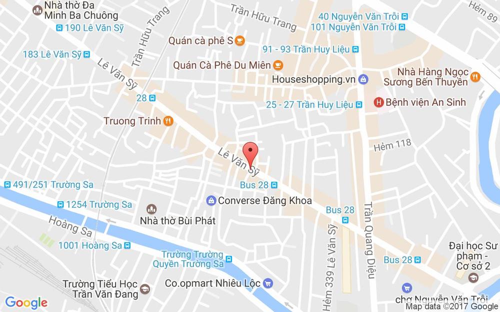 Vị trí bản đồ 454 Lê Văn Sỹ, P. 14 Quận 3 TP. HCM