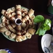 Bánh pancake + chuối + sốt chocolate