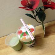 Thạch matcha và sữa chua trân châu