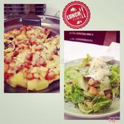 Seafood Pizza and Egg salad