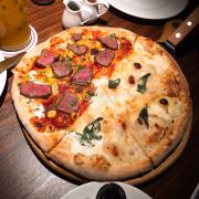 Half-half teriyaki beef & 5 cheese pizza