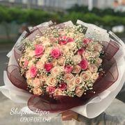 Bó hoa hồng kem mix baby