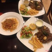 Steak 🥩: 300gr ribeye with pepper corn sauce & 200 gr ribeye with cheese sauce. Spaghetti 🍝: Bolognese. Salad 🥗 - fried 🍟 and grill corn are available