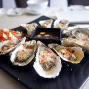 Grilled Oyster with Garlic Sauce