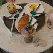 Plain Croissant, Vanilla muffin, Passion fruit mousse, Strawberry cheesecake Frappu, Mocha cookie Frappu
