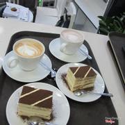 capuchino coffee and tiramisu