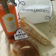 Kopan (red bean) bun, cheesy ham & egg sandwich, and Black Tea Orange Mix