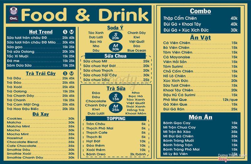 Menu của quán, có thêm menu phụ ở trước quầy order cập nhật những món mới nữa nha