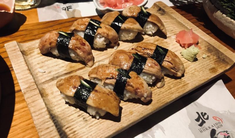 Sushi gan ngỗng, bên trên điểm thêm vỏ chanh xanh