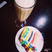 Super rainbow + trà sữa đào