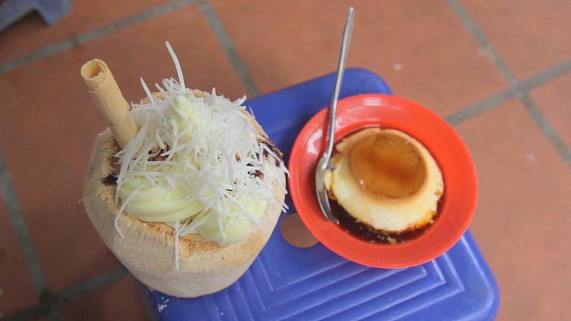 Kem dừa và caramen thạch